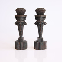 Pair of African face candle holders