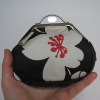 Metal frame purse with big flower, coin purse - made from Spanish tapestry - Unique, one of a kind