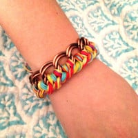 Tie Dye Woven Chain Bracelet by mgpw on Etsy