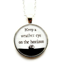 Nautical Pirates Caribbean Quote Necklace by ReleaseMeCreations