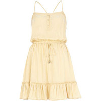 Beige boho frill cami dress - dresses - sale - women