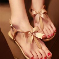 Cute Bowknot Flat Heel Thong Sandals from alanchen