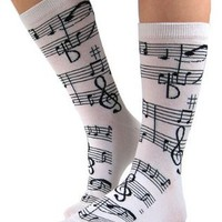 Soft and Comfortable Music Notes Trouser Socks in White by Foot Traffic - One Size:Amazon:Clothing