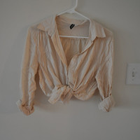 Creme Button Down Crop Tie Blouse