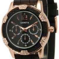 Women's Black Rose Gold Geneva Faux Chronograph Silicone Watch with Crystal Rhinestones Bezel:Amazon:Watches