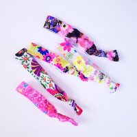 tie the knot hair ties in floral - three bird nest