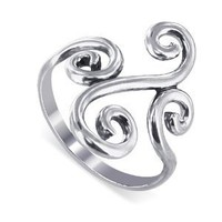 Sterling Silver Swirl Design 2mm Wide Band Polished Finish Ring Size 5, 6, 7, 8, 9:Amazon:Jewelry