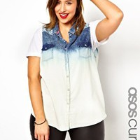 ASOS CURVE Sleeveless Denim Shirt in Laser Print at asos.com
