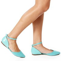 Mint Suede/Patent Pointed Flats