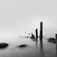 "Foggy New England Sea - ""Sticks and Stones Stew"" - 11x14 Black and White Nature Nautical Photo Print - Minimal Beach House Decor"