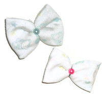 Set of Two Cloth Bears and Letters Upcycled Hair Bow Clip