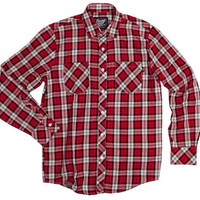 Benny Gold - Twill Plaid Button-Up Shirt Red
