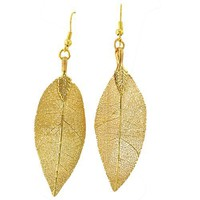 24 Karat Gold Overlay Leaf Dangle earrings