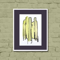 Watercolor Painting - original abstract fine art - lime green - black - geometric - ombre - modern tribal