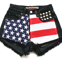 Black american flag shorts XXS