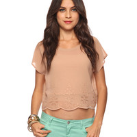 Scalloped Eyelet Blouse | FOREVER21 - 2000039781