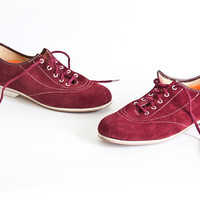 Womens Vintage Bowling Shoes-Burgundy Suede-Size 7