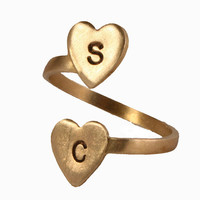 Valerie Tyler Designs — Personalized Double Heart Initial Ring