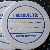 Letterpress Coaster Set New Years Resolution by luckybeepress
