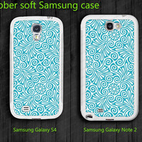 Blue floral Soft Samsung Galaxy S4 case  i9500 Case unique design Samsung Galaxy note II case  note 2 case 7100 case
