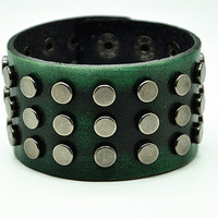 Deep Green Real Leather Wristband Cuff Bracelet ,Men Cuff  bracelet , Women Cuff Bracelet, Punk Rivet Bracelet  RZ0313