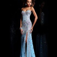 Sweetheart Floor-length Sheath _ Column Chiffon Blue Evening Dresses [10129201] - US$266.99 : DressKindom