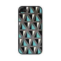 Geometric Apple iPhone 4 Case - Mountain Pattern Plastic iPhone 4s Case - Wood iPhone Case Skin - Turquoise Brown White Cell Phone For Him