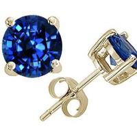 3.00 cttw Tommaso Design(tm) 7mm Genuine Round Created Sapphire Earring Stud in 14 kt Yellow Gold