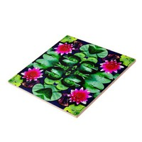 Waterlily Pattern in Bright Pink and Green Tile from Zazzle.com