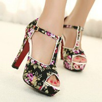 retro 2013 Hansenne flower print peep-toe high-heeled shoes sandal