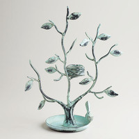 Green Tall Tree and Nest Jewelry Stand
