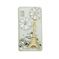 Handmade hard case for Motorola Droid 2: Bling Eiffel tower with crystals (custom are welcome)