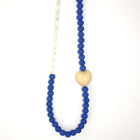 blue cream long necklace - off white blue necklace long - heart blue necklace - gemstone necklace - statement necklace