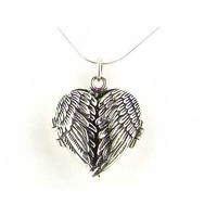 "Luxury Sterling Silver Unusual Hinged Locket Heart Pendant with Opening Angel Wings & 18"" Sterling Silver Snake Chain Necklace"