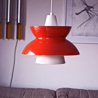 1950s Vintage Danish Navy Pendant. Søværnspendel. Louis Poulsen. Shiny red and white aluminum.