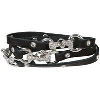 Trendy Black Leather Wrap Bracelet with Crystal Studded Horse Tack Clasp