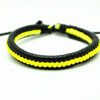 Real Leather Cotton Ropes Woven Bracelet, Women Leather Jewelry Bangle Cuff Bracelet  RZ0324
