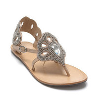 Fanfare Leather Flat Sandal