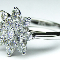 European Engagement Ring - Flower Diamond Engagement Ring 0.63 TCW in 14K White Gold - ER3