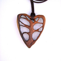 Wood Pendant, Wooden Jewelry, Wooden Pendant, Heart Wood Jewelry, Tree of Life Pendant, Rosewood Pendant, Heart Pendant, Wood Carved Pendant
