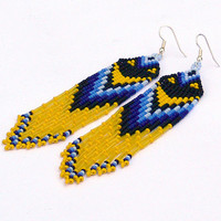 Native American Beaded Earrings Inspired. Blue Black Yellow Earrings. Beadwork. Fringe Dangle Very Long Earrings.