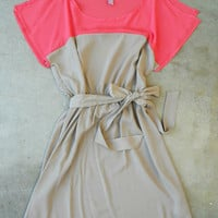 Coral & Taupe Colorblock Dress [3274] - $34.00 : Vintage Inspired Clothing & Affordable Summer Frocks, deloom | Modern. Vintage. Crafted.