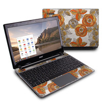 Acer Chromebook C7 Skin - Orange and Grey Flowers by Valentina Ramos