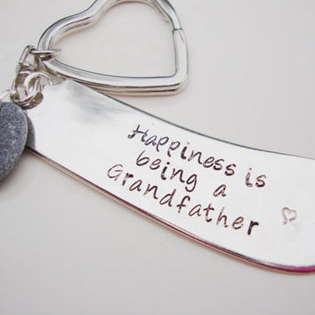 Happiness is being a grandfather upcycled knife keychain with smooth beach stone
