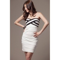 White Knitting Sheath Dress