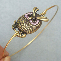 Owl Brass Bangle Bracelet Style 6 by turquoisecity on Etsy