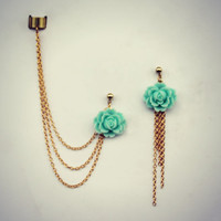 aqua rose ear cuff and earrings, chain ear cuff, ear cuff with gold chains, asymmetrical earrings