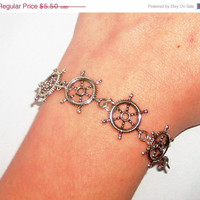 ON SALE Rudder sea wheel silver charm summer bracelet boho delicate trendy unique beach jewelry bracelet