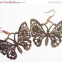 ON SALE Brass filigree butterfly earrings big butterfly metal casual earrings summer cyber delicate earrings mothers day gift