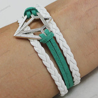 ancient crown bracelets  -  friendshipe wristband white braided rope and green leather rope,best gifts idea N0270